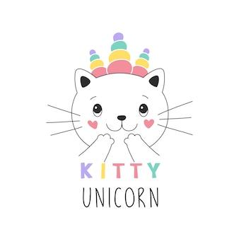 Ilustración de niña dulce gatito unicornio