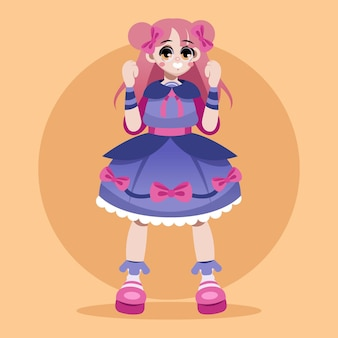 Ilustración de niña de estilo lolita degradado