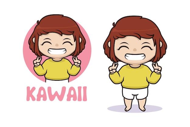 Ilustración de niña feliz kawaii chibi