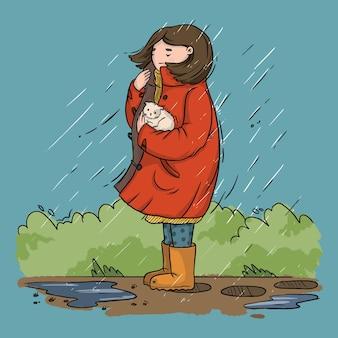 Ilustración de una niña con un gatito sin hogar bajo la lluvia