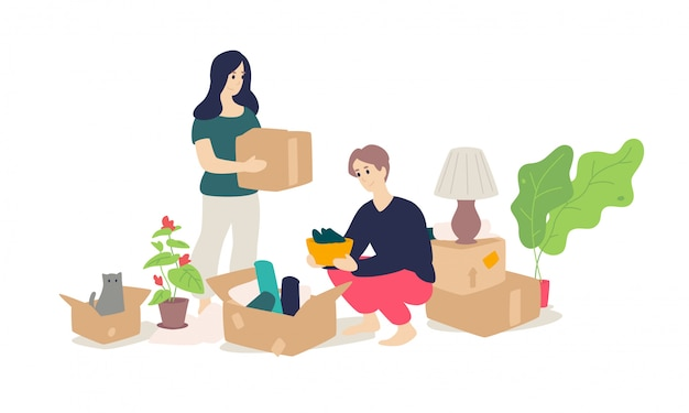 Ilustración de una niña y un hombre joven desempacar artículos para el hogar.