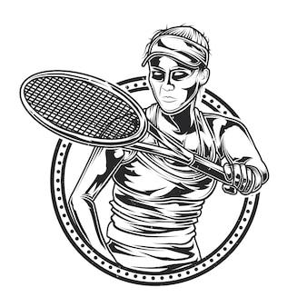 Ilustración de niña jugando al tenis