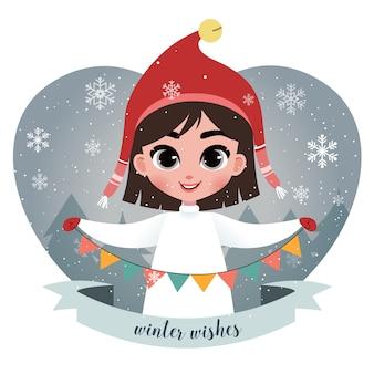 Ilustración con niña linda con guirnalda. escena del bosque de navidad con árboles y copos de nieve. arte vectorial