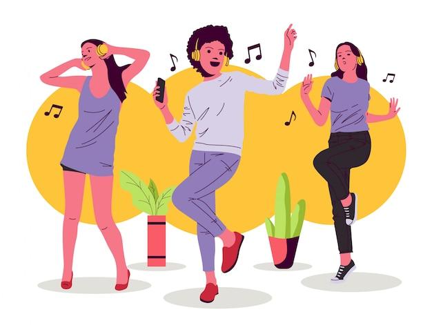 Ilustración de niña y mujer bailando