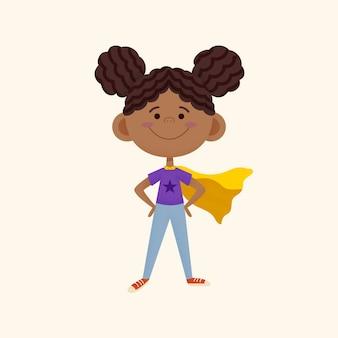 Ilustración de niña negra de dibujos animados con capa