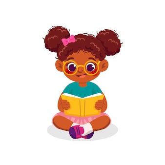 Ilustración de niña negra de dibujos animados leyendo un libro