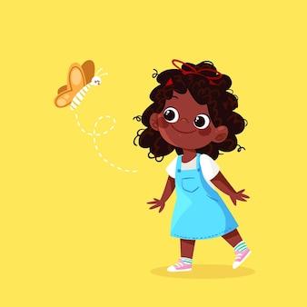 Ilustración de niña negra de dibujos animados con mariposa