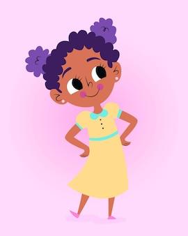 Ilustración de niña negra sonriente de dibujos animados