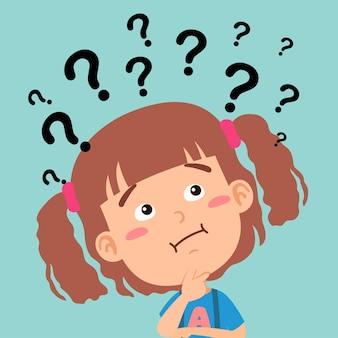 Ilustración de niña pensando con signos de interrogación
