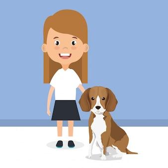 Ilustración de niña con personaje de perro