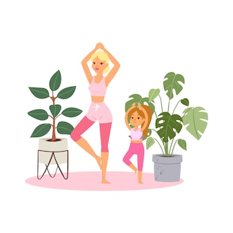 Ilustración, niña practica yoga en casa, pose relajante para la meditación, vida sana, ilustración de estilo de dibujos animados.