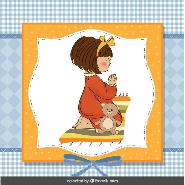 Ilustración de niña rezando
