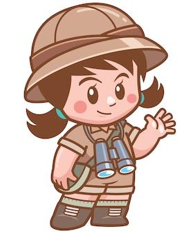 Ilustración de niña safari con binoculares