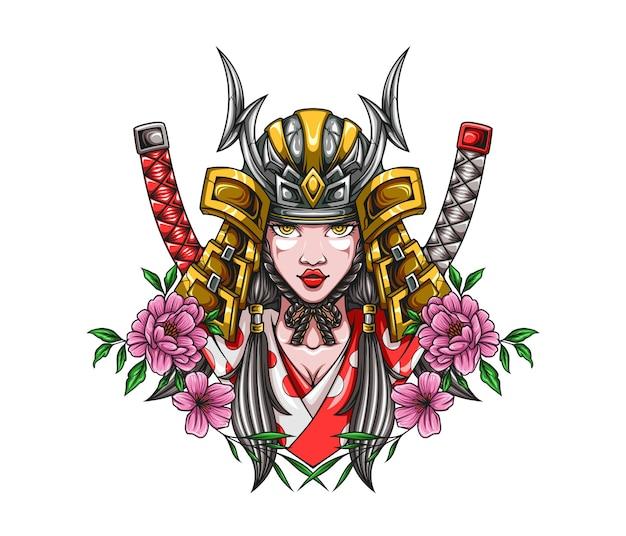 Ilustración de niña samurai