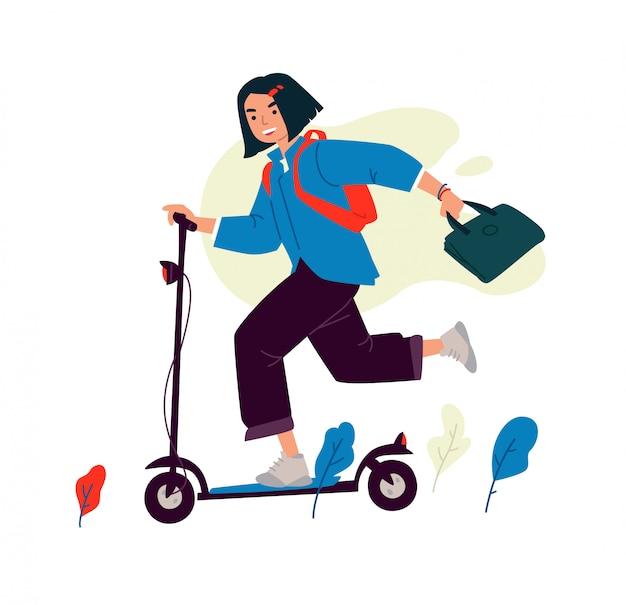 Ilustración de una niña en un scooter eléctrico.