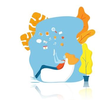 Ilustración de niña con smartphone y diseño de aplicaciones de medios de comunicación vector de fondo
