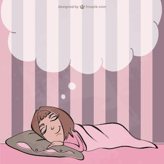 Ilustración niña soñando