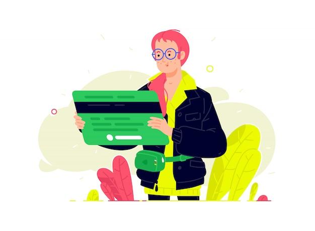 Ilustración de una niña con una tarjeta bancaria en un estilo plano. cliente bancario con tarjeta de débito.