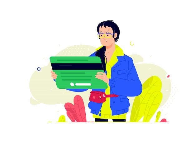 Ilustración de una niña con una tarjeta bancaria en un estilo plano. instrumentos de banca de inversión.