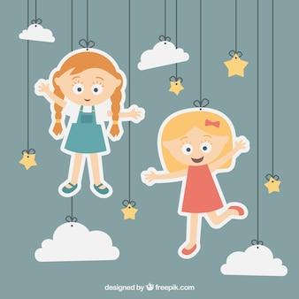 Ilustración de niñas colgando de una cuerda