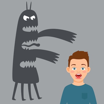 Ilustración de niño asustado y monstruo de miedo