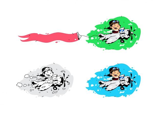 Ilustración de un niño de dibujos animados volando en un avión con una cinta