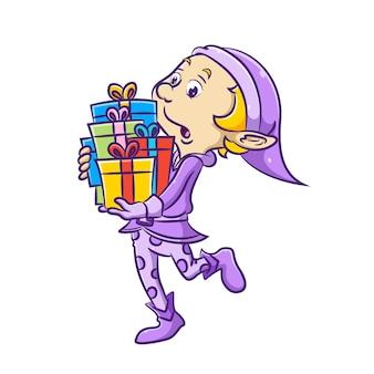 La ilustración del niño elfo trae el disfraz morado y sostiene gran parte del regalo con la cinta de colores.