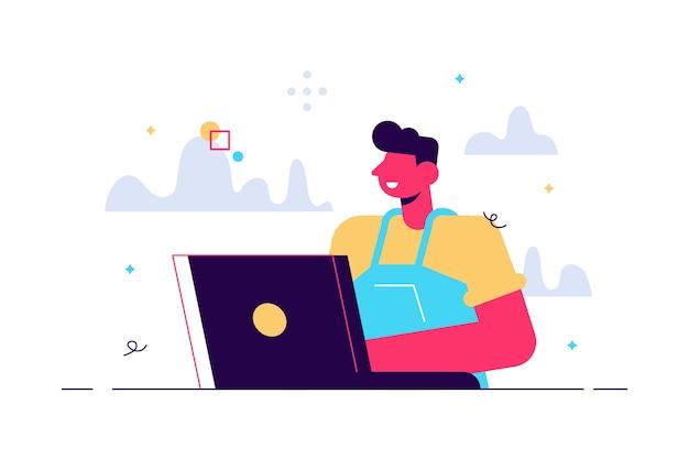 Ilustración de niño, estudiando mediante aprendizaje en línea con computadora portátil.