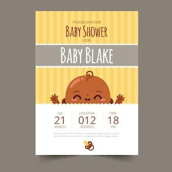 Ilustración de niño de invitación de baby shower