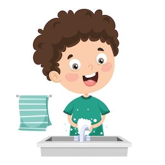 Ilustración de niño lavándose las manos
