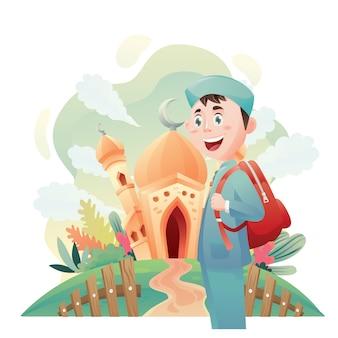 Ilustración de niño musulmán en la mezquita