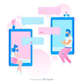 Ilustración de niño y niña usando la aplicación de citas