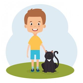 Ilustración de niño con personaje de gato