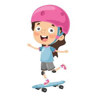 Ilustración del niño que anda en monopatín
