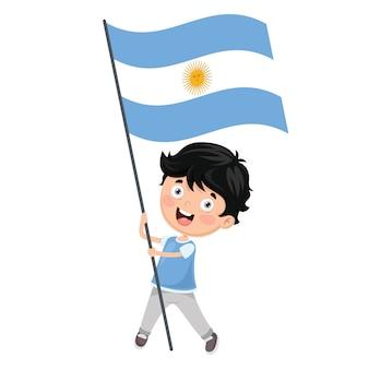 Ilustración del niño que sostiene la bandera de argentina