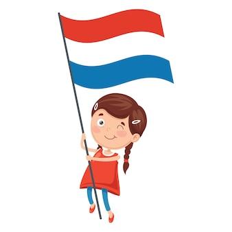 Ilustración del niño que sostiene la bandera de holanda