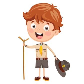 Ilustración de un niño scout