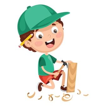 Ilustración del niño trabajando