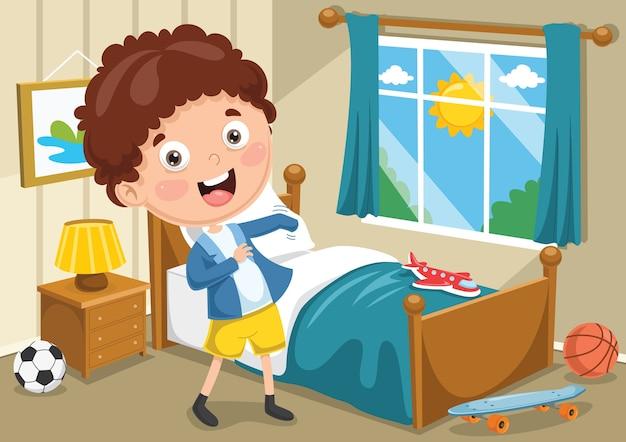 Ilustración de niño vistiendo ropa