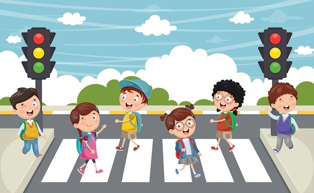 Ilustración de niños caminando a través del paso de peatones