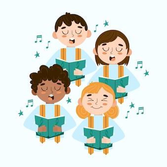 Ilustración de niños cantando juntos en un coro.