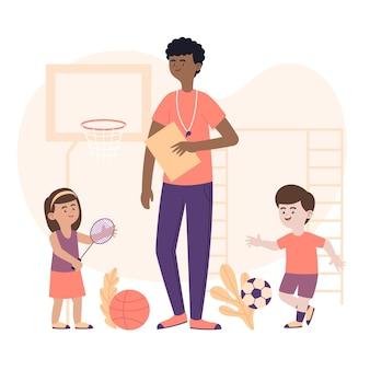 Ilustración de niños en clase de educación física.