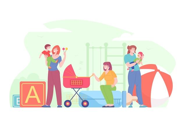 Ilustración de niños de cuidado de niñera femenina