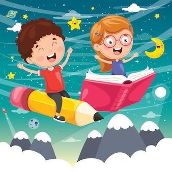Ilustración de niños en edad escolar volando