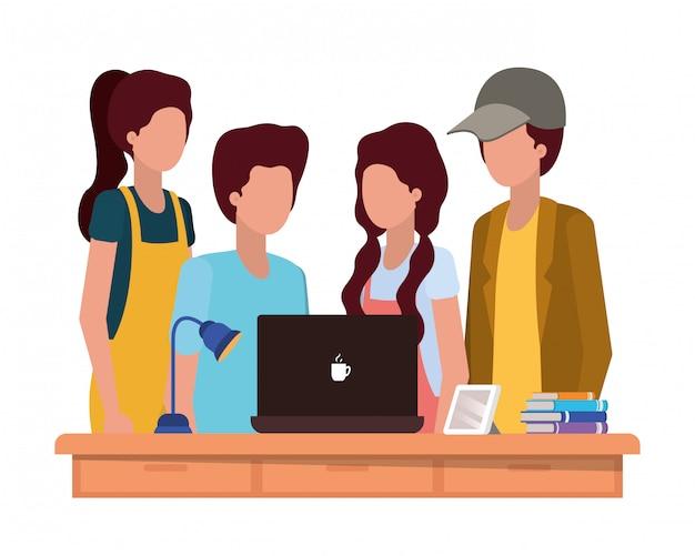 Ilustración de niños de estudiantes de escuela