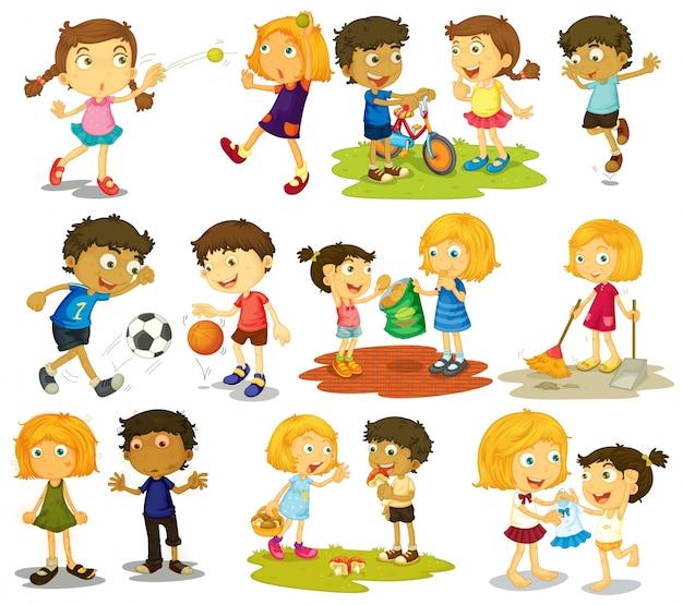 Ilustración de los niños haciendo diferentes deportes y actividades