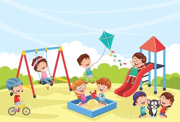 Ilustración de niños jugando