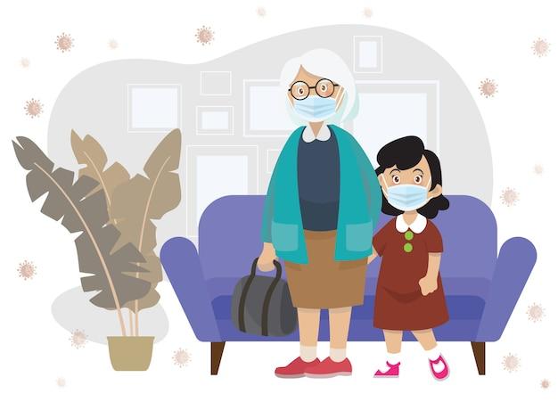 La ilustración de niños lleva una máscara médica. la niña y la abuela usan una máscara médica