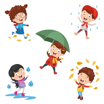 Ilustración de los niños de otoño