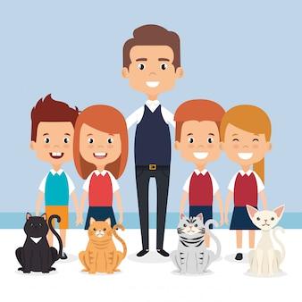 Ilustración de niños pequeños con personajes de mascotas